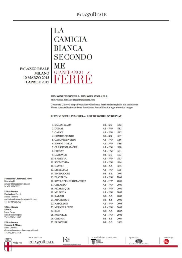 List of works on display