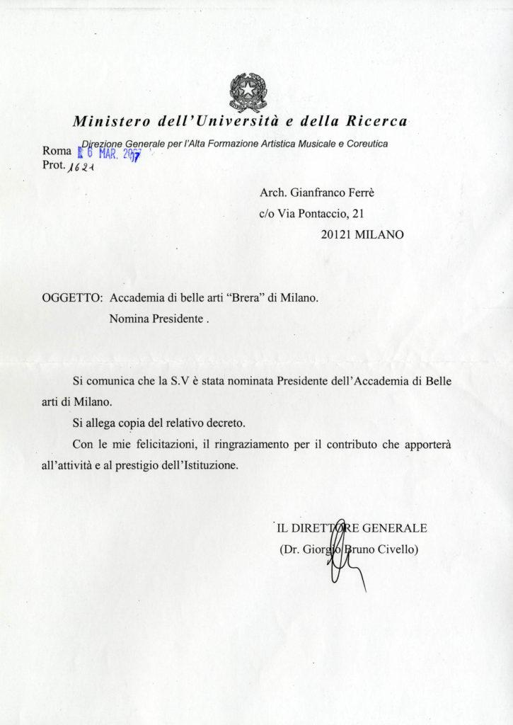 atto di nomina Accademia di Brera