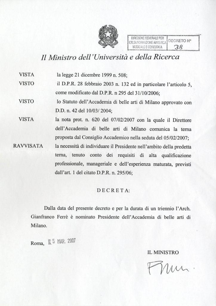 Nomina a Presidente dell'Accademia di Belle Arti di Brera