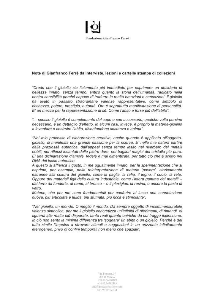Note gioiello Gianfranco Ferré
